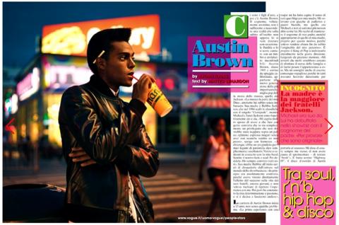 Austin Brown in de italiaanse L'uomo Vogue